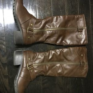 Shoes - Knee-High Brown Leather Boots